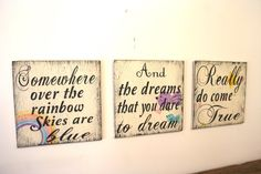 etsy you get me every time........   Somewhere Over The Rainbow Wood Wallhanging by RusticlyInspired