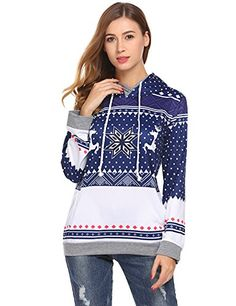 POGTMM Women Christmas Reindeer Snowflake Print Long Sleeve Sweatshirt Pullover Hoodies (L, Navy Blue) | Ugly Christmas Sweater Yoga ** Check out the image by visiting the link. (This is an affiliate link) #UglyChristmasSweaterYoga