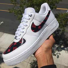 finest selection 49cc1 8a7f8 Black Base Only!! Custom Nike Air Force 1 - Patent Black Cherry LV Monogram  Print