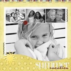 Scrapbook pages, scrapbooking, I like the black n white on the yellow and the mix of large and small photos.