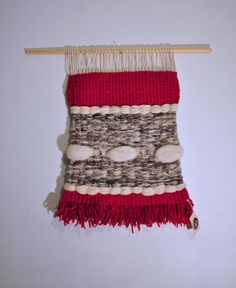 Weaving Wall Hanging Red & Grey by 278studio on Etsy