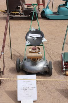 Donald and Diane Winn of Stockton Ca. had a great display of old garden equipment. This was a unique aluminum base lawn mower showing the th...