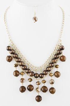 Bead Drop Collar Necklace
