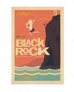 Dive in  Black Rock Maui  12 x 18 Retro Hawaii by EverythingIsJake, $18.00
