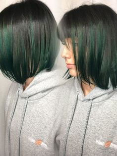 Green Pravana vivids on dark hair with undercut