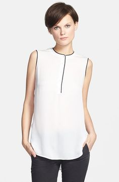 Vince Color Tipped Sleeveless Blouse available at #Nordstrom