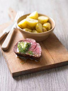 Filet Mignon, herb butter, potatoes. DAVID MUNNS FOOD PHOTOGRAPHY