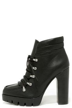 Black Lug Sole High Heel Boots ==