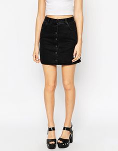 Image 4 of ASOS Denim Dolly Button Front Mini Aline Skirt In Washed Black