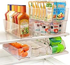 Greenco 6 Piece Refrigerator and Freezer Stackable Storage Organizer Bins with Handles, Clear. Keep your refrigerator, freezer, pantry neat and organized with this 6 piece stack-able bin set. Refrigerator Organization, Container Organization, Refrigerator Freezer, Storage Organization, Organizer Bins, Kitchen Organizers, Fridge Storage, Organized Fridge, Freezer Storage