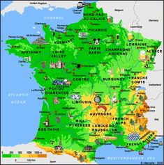 Régions de France Plan France, European Map, Travel Info, Cartography, France Travel, Paris France, French Food, French Language, Space Travel