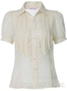 Delicate OL Style Falbala Short Lantern Sleeve Blouse