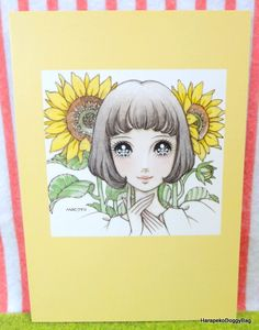 "An illustration of a kawaii girl with sunflowers. This is a postcard from the postcard book, ""Dreams O'Girl"" which was released in 2003. The illustration is by Macoto Takahashi, a famouse Japanese shojo manga artist in Japan."