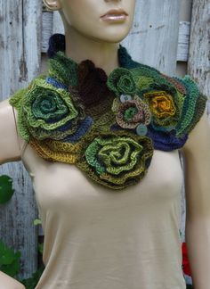 Crochet scarf Freeform Crochet Scarf Capelet Neck Warmer Brown Green Orange blue…