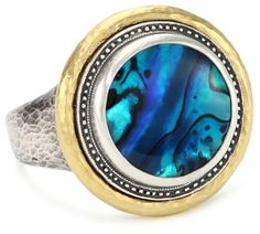 "GURHAN ""Surf"" Silver and Gold with Round Paua Shell Ring, Size 7 Gurhan,http://www.amazon.com/dp/B007JSD8L4/ref=cm_sw_r_pi_dp_Ei1fsb1RBP30ZDSD"