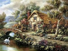 Ashdon Cottage - Counted cross stitch pattern in PDF format by Maxispatterns on Etsy