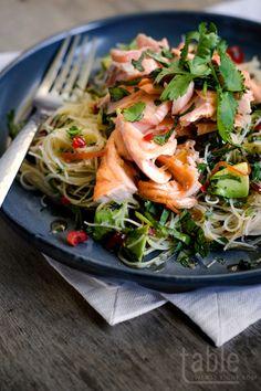 salmon noodle salad with chilli & lime dressing | tabletwentyeight.com | #recipe #salmon #salad