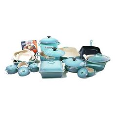 Le Creuset Signature Caribbean (Blue) Enameled Cast Iron 24 Piece Cookware Set