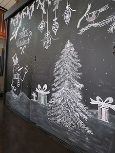 Christmas Chalkboard Art: A New Tradition Christmas Art, Christmas Photos, Vintage Christmas, Wall Christmas Tree, Christmas Tree Drawing, Christmas Ideas, Chalkboard Drawings, Chalkboard Designs, Chalkboard Wall Art