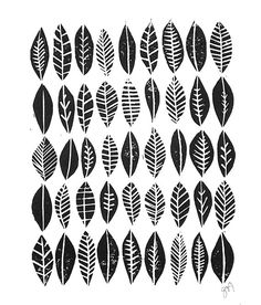 LINOCUT PRINT Leaf collection pattern black by thebigharumph