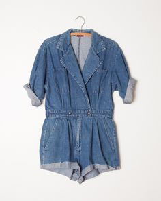 Vintage denim romper features cut off bottoms, snap and zipper front closure and perfectly washed Denim Playsuit, Jean Romper, Denim Jumpsuit, Overalls, Looks Style, Style Me, Pretty Outfits, Cute Outfits, Jean Court