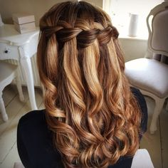 Waterfall Braid by Sweethearts Hair Design - bridesmaid hair and makeup - Wedding Party Hairstyles, Braided Hairstyles, Wedding Hairstyles, Cool Hairstyles, Hairstyle Ideas, Hairstyle Short, Spring Hairstyles, Waterfall Braid Tutorial, Waterfall Braids