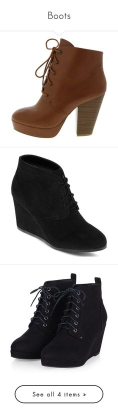 """Boots"" by mdetoma ❤ liked on Polyvore featuring shoes, boots, ankle booties, heels, ankle boots, sapatos, wedge ankle boots, wedge booties, wedge ankle booties and lace up wedge bootie"