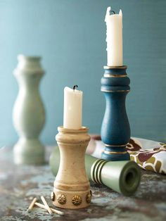 Old pepper grinders now act as stylish candleholders! More flea market decor: http://www.bhg.com/decorating/decorating-style/flea-market/flea-market-chic-home-accents/?socsrc=bhgpin082913candleholder=26
