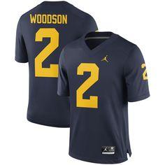acbd679a8 Charles Woodson  2 Michigan Wolverines Jordan Brand Alumni Football Jersey  - Navy