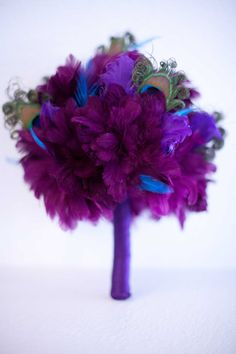 Purple and Peacock Feather Bridesmaid Bouquet by LaPlumeEthere, $80.00