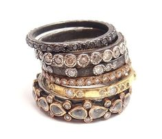 Beautiful Armenta 18K Yellow Gold Silver Diamond Stacking Band Set of 6 Rings…