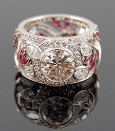 Diamond Rings : Platinum Diamond and Ruby Ring