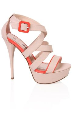 Deb Shops  Shoes / Deb Shops open toe strappy high heel with contrast trim ||