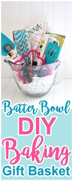 Perfect gift idea for Mother's Day for Moms and Grandmas who love to cook! (or just love fun new kitchen gadgets!) Pretty and FUN Batter Bowl DIY Baking Gift Basket Tutorial by Dreaming in DIY