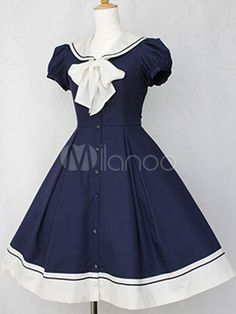 Dark Navy Tie-neck Cotton Bows Lolita One-Piece - Milanoo.com
