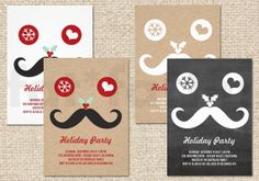 Funny Mustache Smiley Face Holiday Party Invitation | Custom Chalkboard Kraft Moustache Christmas Party Invite PRINTED Card | PRINTABLE pdf - by fatfatin
