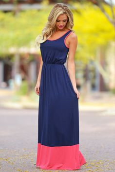 RESTOCK! Summertime Color Block Maxi - Navy Code REPJENNIFER=10% off and FREE shipping.