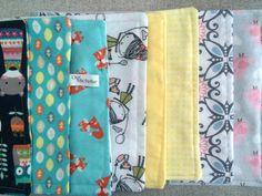 Baby Girls Burp Cloths Fox Bird Grey Set by OurMichelleDesigns