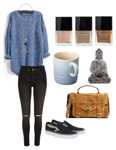 """""""untitled #13"""" by haleytmartin ❤ liked on Polyvore featuring River Island, Vans, Proenza Schouler, Butter London and Le Creuset"""