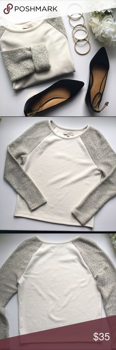 LOFT // Textured Pullover - ivory, gray Pairs great with a sleek pencil skirt and heels for a classy outfit for work. From LOFT in great condition. Loose fitting and light weight material. Textured body and boclé sleeves. Has been worn a few times. LOFT Tops Blouses