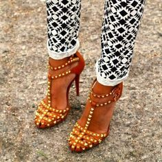 sexy studded high heels and printed pants - fall street style