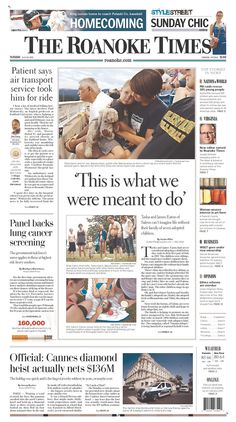 The Roanoke Times front page: July 30, 2013. Sign up for a digital subscription at roanoke.com/subscribe.