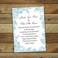 dusty blue floral lace simple white wedding invitations EWI266