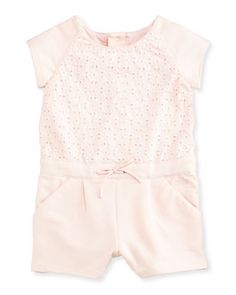 Chloe Embroidered Eyelet-Top Playsuit, Light Pink, Size 6M-3