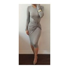 Rotita Grey Long Sleeve Round Neck Bodycon Dress (24 AUD) ❤ liked on Polyvore featuring dresses, grey, long sleeve dress, long sleeve sheath dress, grey sheath dress, long sleeve bodycon dress and body con dress