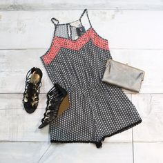 Neon Nights Woven Romper {Black+Ivory} | Madden Girl: Hoistt Caged Sandal Wedges {Black} | Sandra Wallet {Silver}- The Fair Lady Boutique #summer #outfit #spring