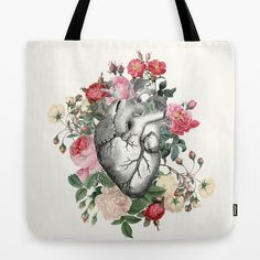 Roses for her Heart Tote Bag Pink delicate by ArtfullyFeathered