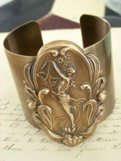 Art Nouveau Cuff Bracelet  Vintage Brass by chloesvintagejewelry, $58.00
