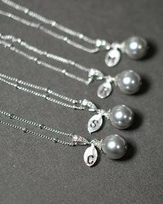 Gray Pearl Bridal NECKLACE  swarovski Pearl by thefabbridaljewelry