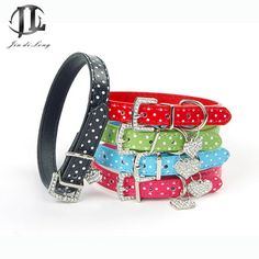 2017 New No Brand Fashion PU Leather Cute Dot Design Nice Candy Color Shiney Rhinestone Pet Dog Basic Collar Pet Accessories #Affiliate